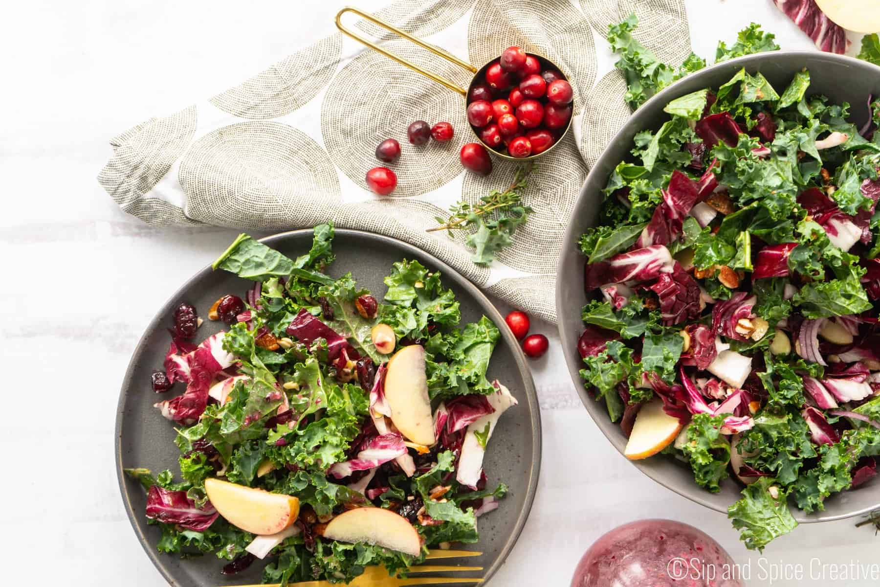 Kale and Radicchio Salad with Fresh Cranberry Vinaigrette