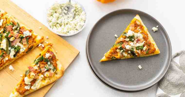 Savory Pumpkin Flatbread with Bacon, Sage and Blue Cheese