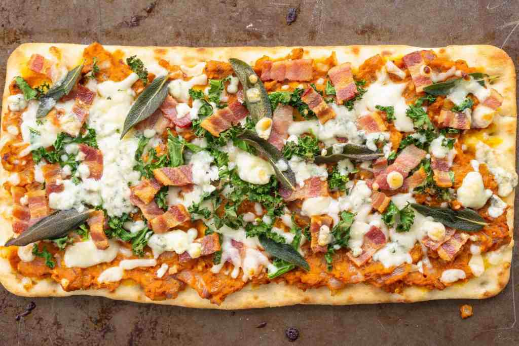 Savory Pumpkin Flatbread with Bacon, Sage and Blue Cheese | Sip and Spice