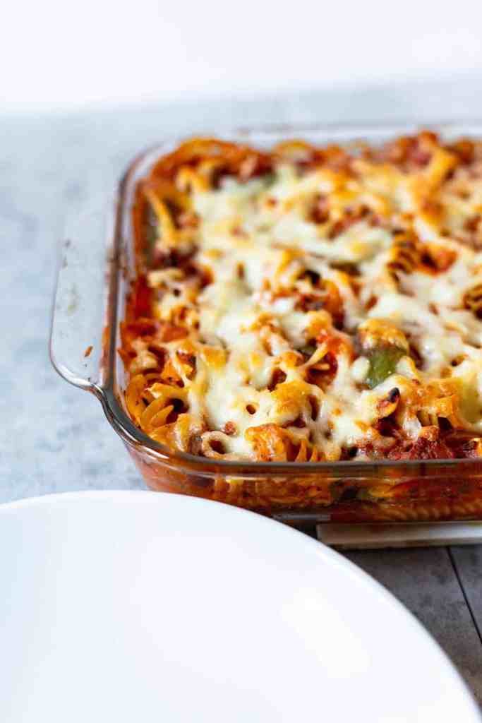 Sausage Pasta Bake with Peppers and Onions | Sip and Spice