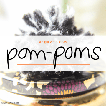 Learn to make yarn #pompoms - because your gift wrap should be cozy, too. @sipbitego #giftwrap www.sipbitego.com/diy-pom-poms/