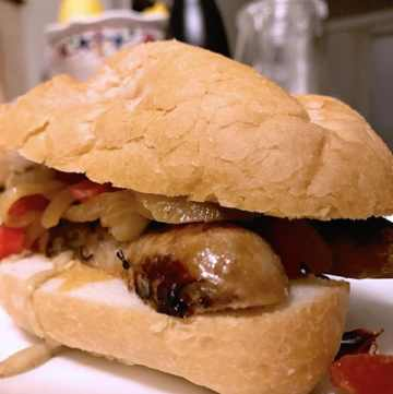 Sous vide sausage peppers onions sandwich hoagie 2-min