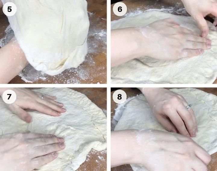 homemade pizza dough step by step guide flouring butcher block and pushing and stretching dough