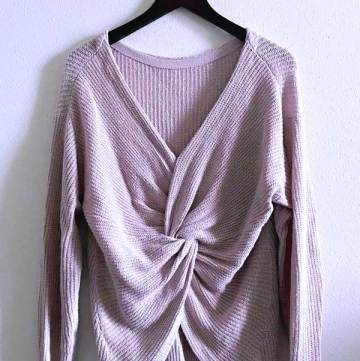 Spring Stitch Fix box opening 2018 Pixley - Fallan twist back plunging V neck sweater in beige - with a deep v neck and front knot detail