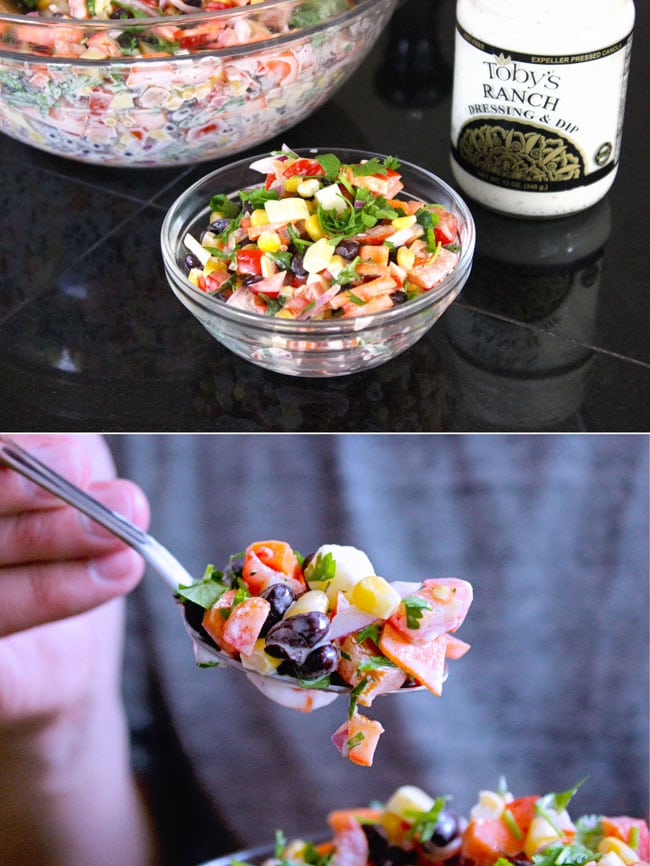 Yummy tex mex salad for a BBQ, picnic or potluck with toby's ranch dressing