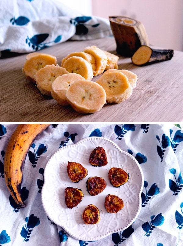 Caribbean fried sweet plantain slices in a pan