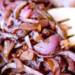 Red wine caramelized red onions made quick on the stove in a pan