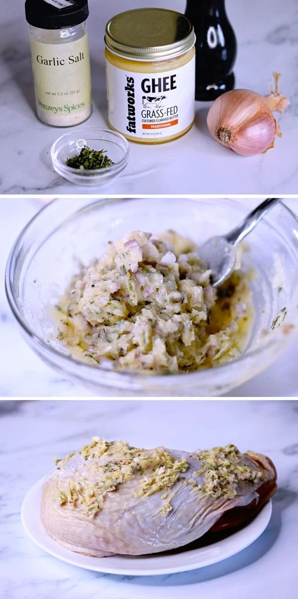 Sous-vide-turkey-breast-prep-the-turkey-seasoning-with-fatworks-ghee-garlic-shallots-parsley
