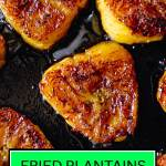fried sweet plantain slices in a pan