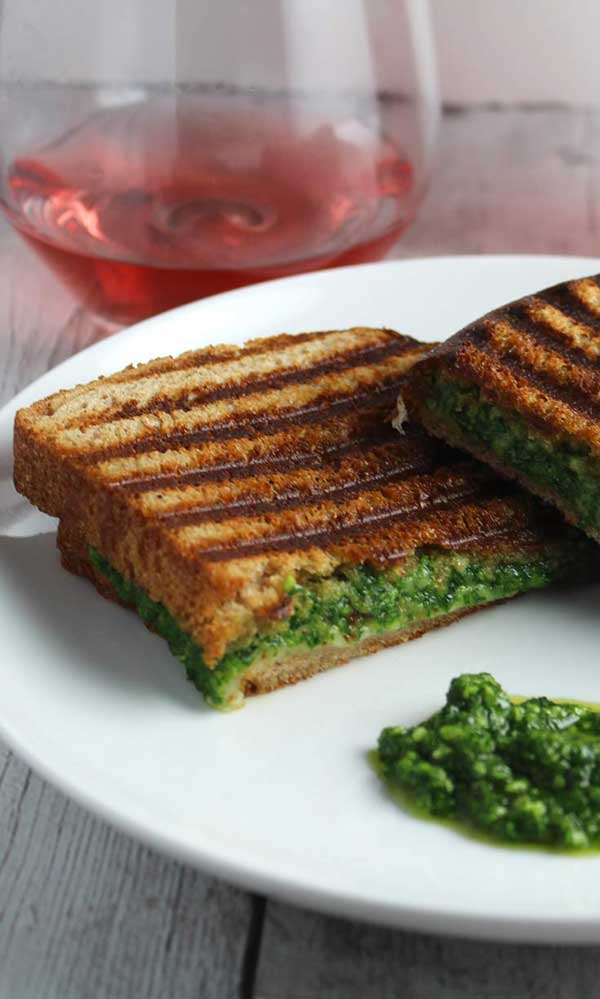 Grilled cheese with pesto ideas featuring Kale Pesto Grilled Cheese with a side of basil pesto