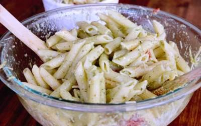 Creamy pesto pasta salad with store bought pesto