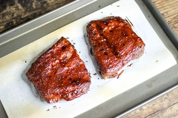 sous vide beef spare ribs with bbq sauce broiled in the oven