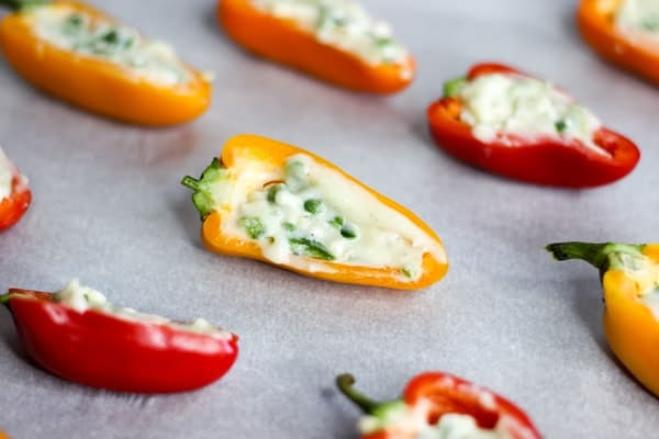 sweet peppers with goat cheese and jalapenos