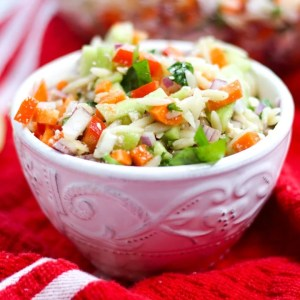orzo pasta salad in a white bowl on a red cloth