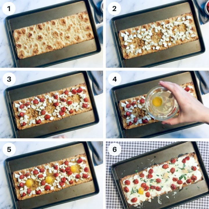 Step by step process shots how to add eggs to breakfast pizza
