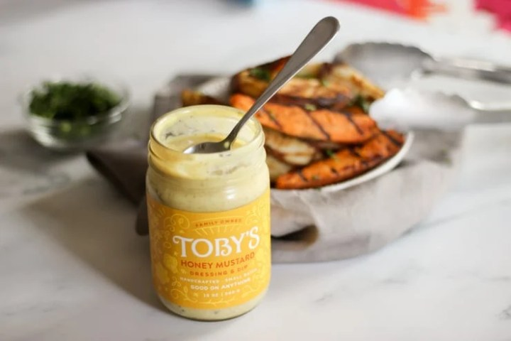toby's honey mustard dressing with sweet potatoes