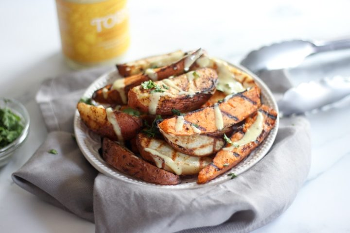 grilled potatoes with Toby's honey mustard and cilantro
