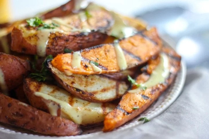 bbq party side dish plate with potatoes