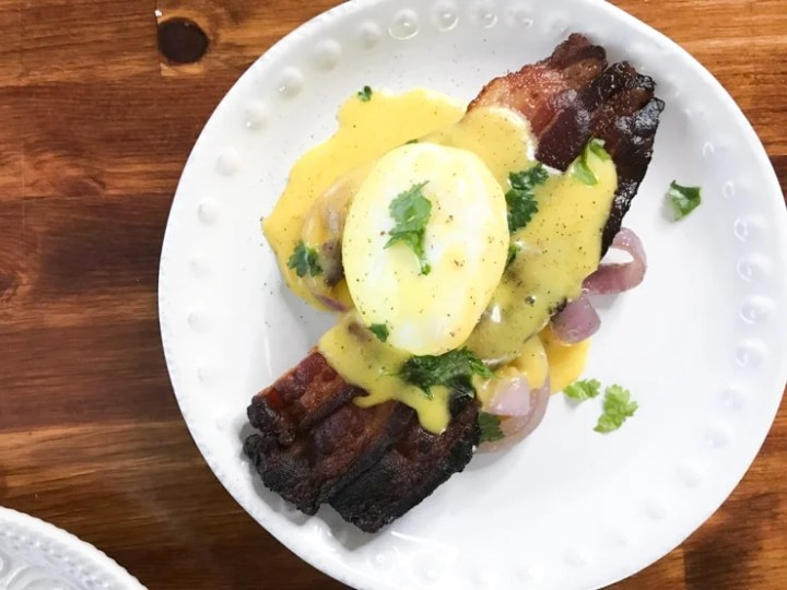 entertaining guests for a sous vide brunch with poached eggs and sous vide overnight bacon