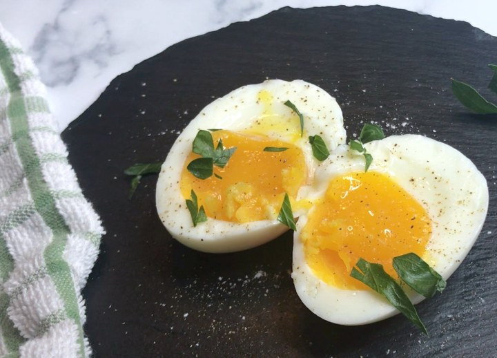 sous vide egg cut in half