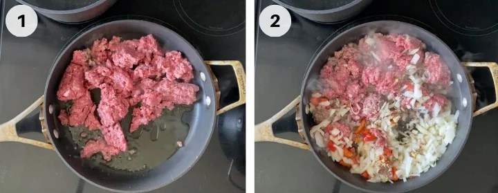 Cooking ground beef for baked rigatoni dish