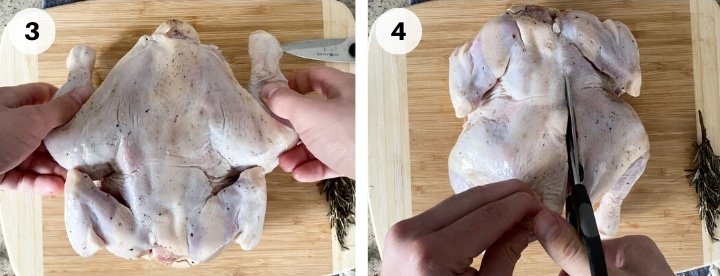 demonstrating how to spatchcock a whole chicken