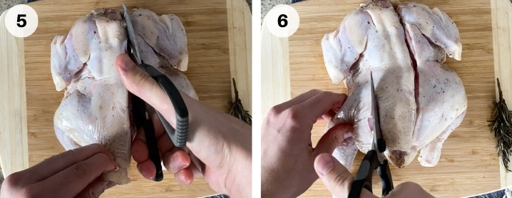 demonstrating how to cut spatchcocked chicken