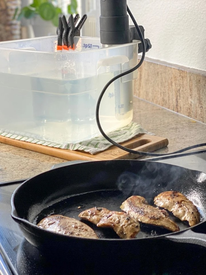 searing sous vide chicken after cooking