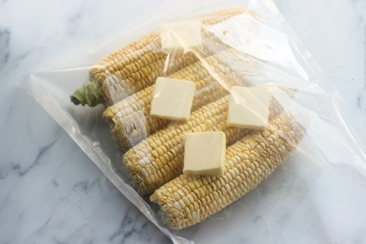 Serving sous vide corn for a sous vide bbq party