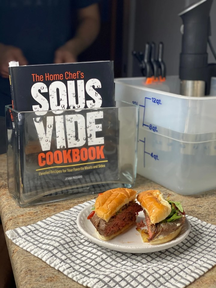 sous vide burger with The Home Chef's Sous Vide Cookbook by Jenna Passaro and anova sous vide machine
