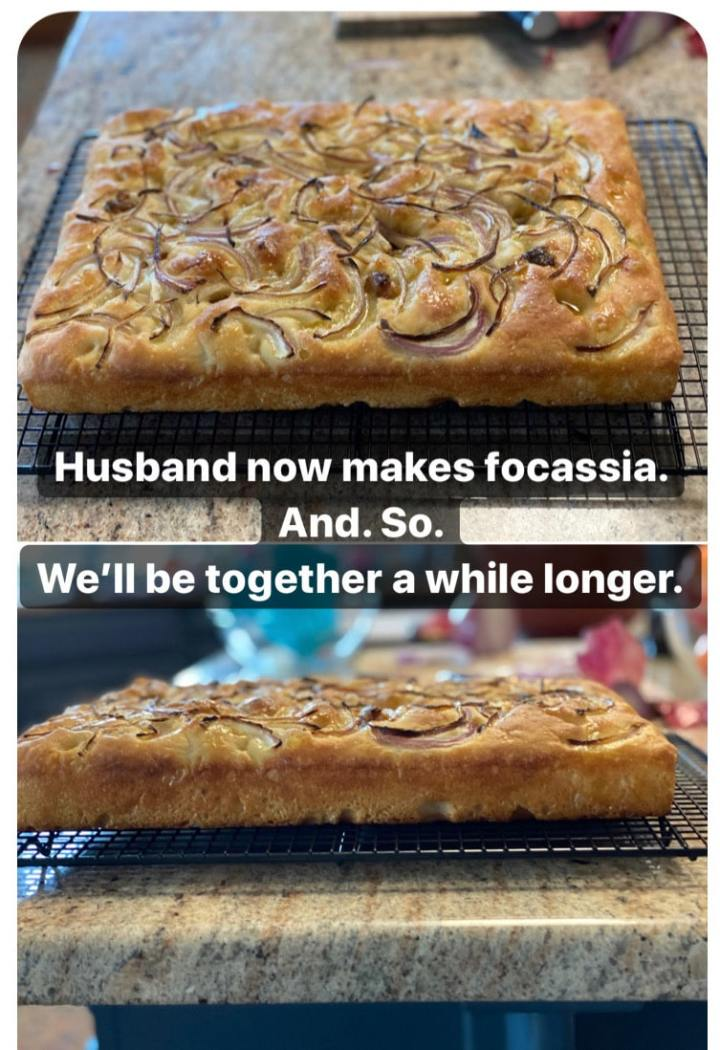 text meme joke about focaccia baking husband