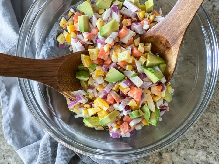 simple salad with tongs