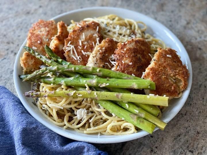 cooked sous vide asparagus pasta dish