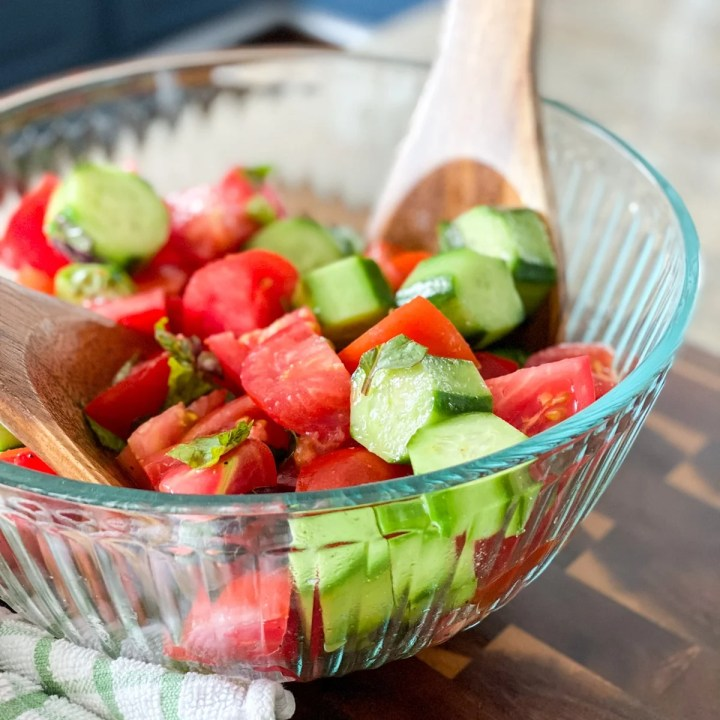 making a recipe with tomatoes and cucumbers feature