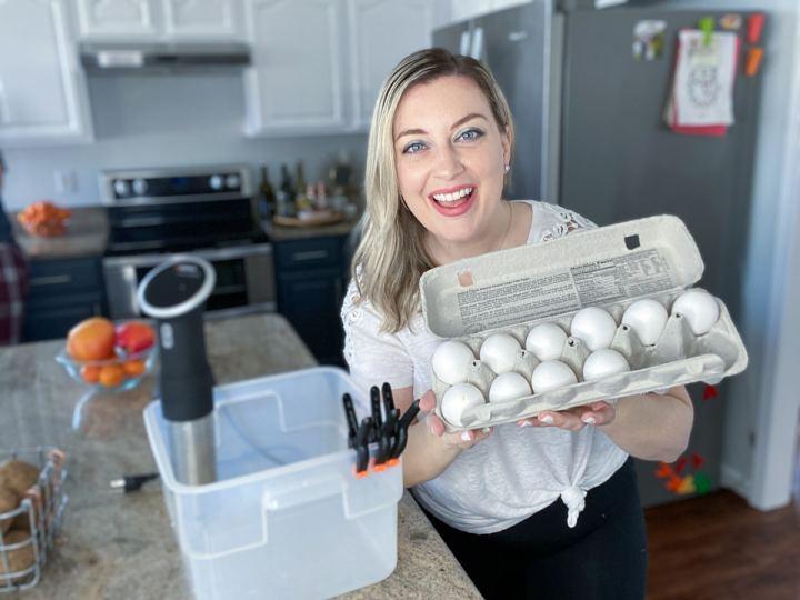Jenna Passaro Sous Vide Eggs setup with anova sous vide machine