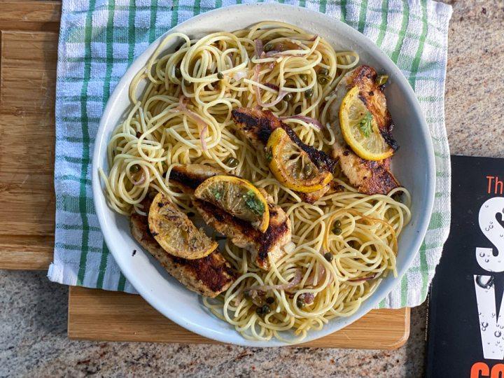 sous vide chicken lemon and pasta dish