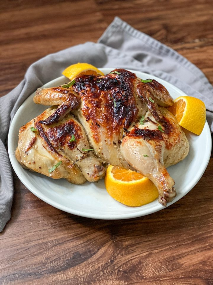 serving sous vide whole roasted chicken dinner