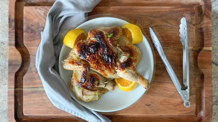 serving whole roasted sous vide chicken dinner