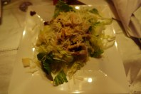 Spring mix with apple, pear, roasted mustard vinaigrette with parmesan crouton