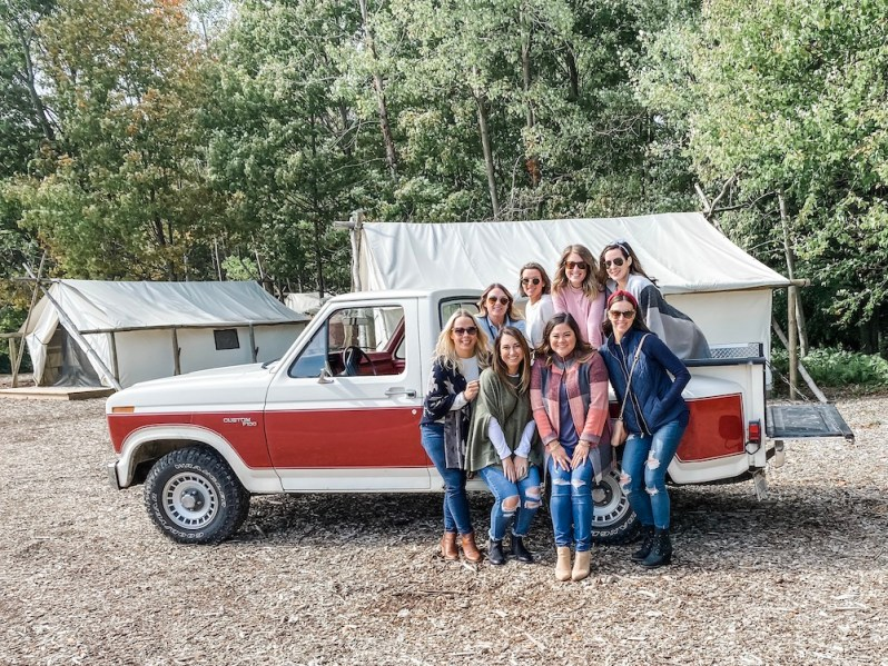 Group of Girls Vintage Truck Fall Attire