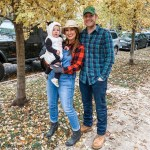 Husband and Wife as Farmers with Toddler in Cow Costume