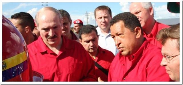 Chavez y Lukashenko develan placa inaugural de empresa conjunta