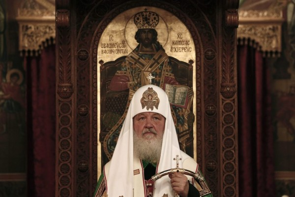 Kirill, Russian Orthodox Patriarch of Moscow and All Russia, attends a ceremony at Saint Dionysios church in Athens