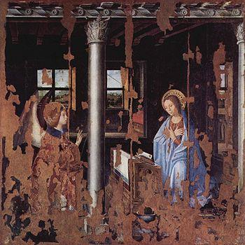 """Antonello da Messina, """"Annunciazione"""" - (Galleria Regionale) (trasportato da tavola su tela, cm 180 x 180)"""
