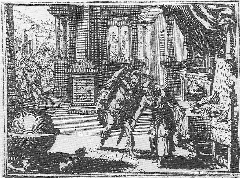 Morte di Archimede - acquaforte di fine XVI, inizi XVII sec.
