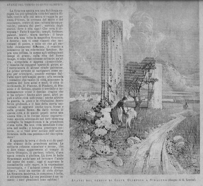 Resti del Tempio di Giove Olimpico a Siracusa - Giornale dell'Esposizione Nazionale di Palermo del 1891-92