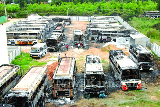 Charred Remains of Buses that was set on Fire at KPN depot in Be