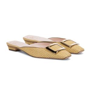 ROGER VIVIER Belle Vivier raffia slippers