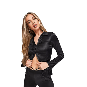 ASOS DESIGN ruched front jersey co-ord shirt in black