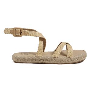 brown raffia cross over flat sandals